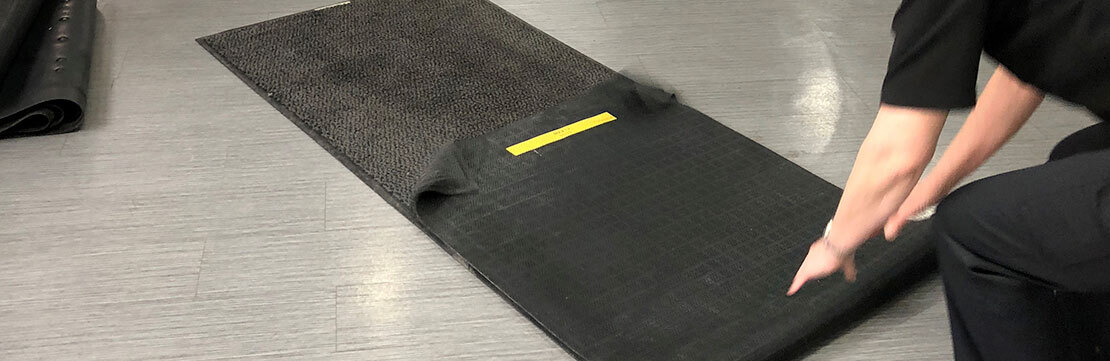 Floor protection mat laying service